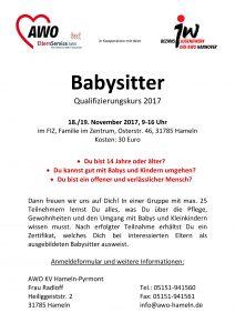 Plakat Babysitterkurs Hameln AWO Babysitter